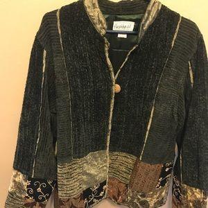Green patchwork boho short jacket